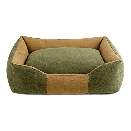 CPP Dickes Segeltuch Haustier-Bett-Welpen-Kätzchen-Waschbares Haustier-Bequemes Nest-Rechteck-Haustier-Bett-Kissen-Entfernbares Kissen,Tan,80 * 68Cm -