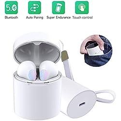 Écouteurs Bluetooth Oreillette sans Fil Bluetooth Léger Stéréo HD Casque Sport Wireless Intra-Auriculaires CVC 6.0 Réduction du Bruit Compatible avec la Plupart des Marques de Smartphones