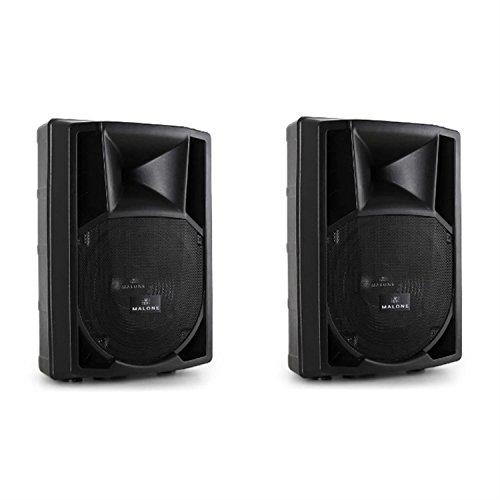 Paar Malone PP-2212A PA-Boxen Paar Aktiv Lautsprecherboxen mit 30cm Subwoofer (AUX, 550 Watt RMS, 2-Wege) schwarz