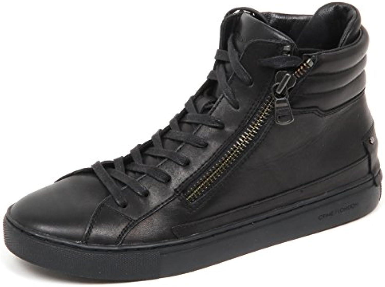 E4632 Sneaker uomo Black Crime London Scarpe Leather Shoe Man -