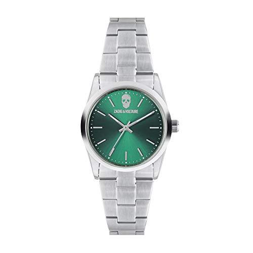 Orologio unisex Zadig & Voltaire al quarzo quadrante verde 36mm e bracciale argento in acciaio zvf615