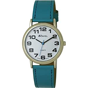 Ravel Large Case Fashion on PU Strap Women's Quartz Watch with White Dial Analogue Display and Blue Plastic Strap R0105.13.6