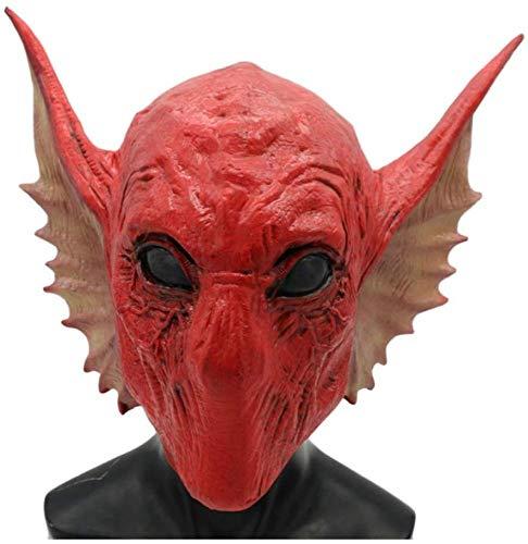 DSFGHE Galaxy Guard Maske Cosplay Latex Schlange Alien Maske Kopfbedeckung Halloween Party Requisiten Spiel Kopf,Red-OneSize