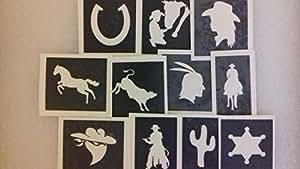 30 x cow-boy & indiens pochoirs à thème (mixte) pour tatouage paillettes / aérographe tatouages au henné / gâteaux / de nombreuses autres utilisations garçons de fonds