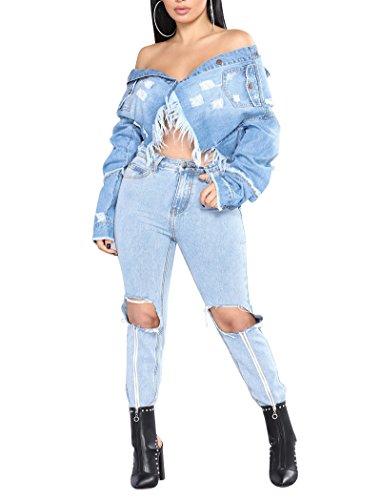 Femme Veste en Jean Frangé Blousons Bouton Manteau Court Veste Slim Fit Manches Longues Bleu Clair M