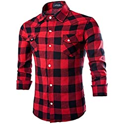 LuckyGirls Camisas de los Hombres Cuadros Camisetas de Manga Larga Rojo (Rojo,L)