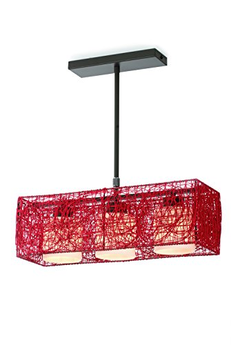 CristalRecord Alexandra - Lampadario moderno, 3 x E27, bulbi rotondeggianti in vetro opale, colore rosso