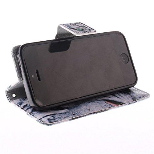 Coque iPhone 5s Portefeuille, KATUMO® Apple iPhone 5 5s Pochette Flip Case Cover Coque en Cuir Protection pour Apple iPhone 5s Housse-Chouette #1Tigre