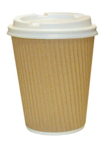Thali Outlet - 1000 Bicchieri da caffè Kraft 354ml di carta con tappo bianco, isolate termicamente a 3 veli per thè, caffè, cappuccino o qualsiasi bevanda calda