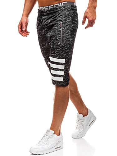 BOLF Herren Shorts Kurzehose Bermudas Sporthose Sportlicher Stil RED Fireball HL8570 Schwarz L [7G7] - Herren Shorts Größentabelle