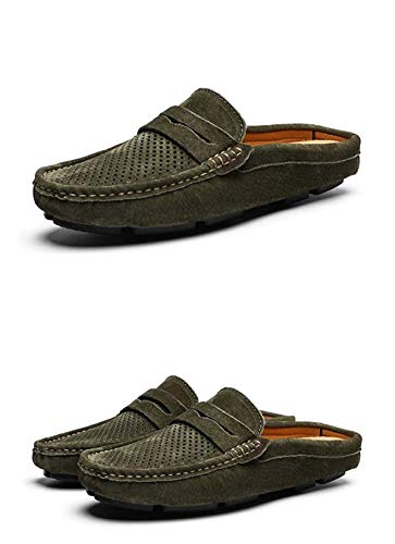Men Shoes Mens Loafers Half Genuine Leather Swede Hand Made Driving Walking Shoes Casual Flats Clogs Leisure Big Size 46 Green 46 -
