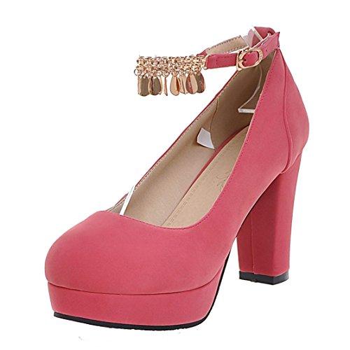 AIYOUMEI Damen Geschlossen Plateau Pumps mit Riemchen Blockabsatz High Heels Elegant Schuhe Rosa