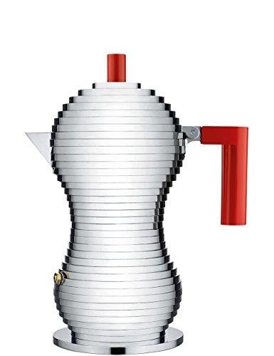 Alessi Pulcina - Cafetera para expreso, aleación de aluminio, rojo