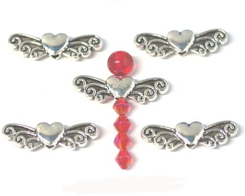 10x große Antik versilbert Engel Flügel Herz Bead Charms. Universell einsetzbar für Schmuck, Karte machen und Scrapbooking. Unsere fantastischen Vielzahl von Perlen, Charms und Erkenntnisse (Ref: 10A55)