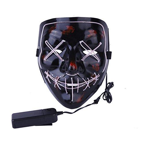 Pynxn - Halloween-Maske LED Light up Party Masks Die Purge Wahljahr Große Lustige Masken Festival Cosplay Zubehör Glow In Dark [W] (Glow Für Partys Zubehör Dark In The)