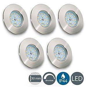 LED Badeinbaustrahler dimmbar Ultra Flach Inkl. 5 x 5,5W 470lm LED Modul IP44 LED Einbauleuchte Warmweiss