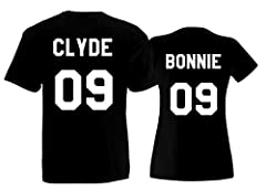 Idea Regalo - L'Arcobaleno di Luci Coppia di t-Shirt Bonnie e Clyde + Numero Personalizzato Uomo e Donna per fidanzati Matrimonio San Valentino by (Entrambe Nere)