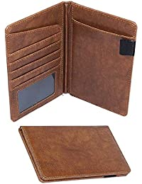 DAHSHA Leather Travel Passport Holder Wallet Credit Debit Card Holder Organiser for Men and Women