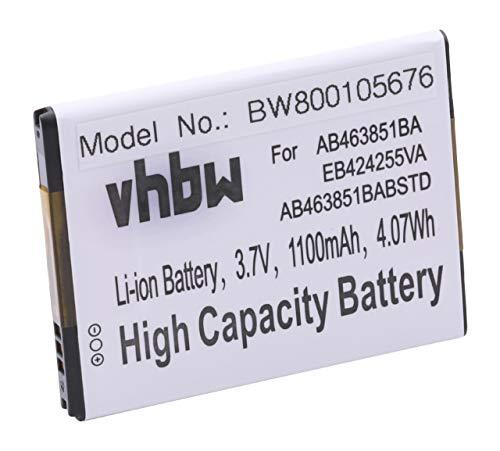 vhbw Akku 1100mAh für Smartphone Telefon Handy Samsung Star 3 III GT-S5220, Star 3 III Duos GT-S5222, Highlight SGH-74, Highnote SPH-M630, SCR-R560 -