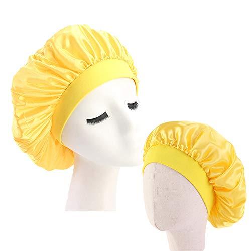 MoonyLI Kids Satin Bonnets Nachtschlafmütze Wide Band Sleeping Hats Eltern-Kind-Schlafmütze-2 Stück