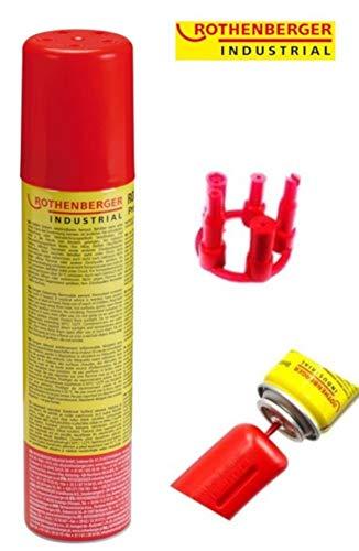 Rothenberger Industrial 35840 Universalgas Brenn - Gas - Kartusche, Hoher Reinheitsgrad, Für Feuerzeuge Oder Gas – Brenner Zum Wiederbefüllen Inkl. 5 Adapter