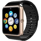 Smart Watch, CulturesIn GT08 Touch Screen Bluetooth Armbanduhr mit Kamera / SIM Kartensteckplatz / Schrittzähleranalyse / Schlafüberwachung für Android (Vollfunktionen) und IOS (Teilfunktionen) (gold)
