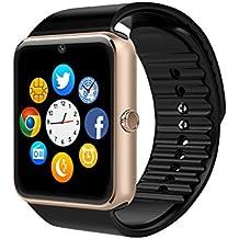 Reloj inteligente CulturesIn GT08, de pantalla táctil, con Bluetooth, máquina fotográfica, ranura para tarjeta SIM, cuentapasos, control del sueño, para Android (funciones completas) e iOS (funciones limitadas), oro