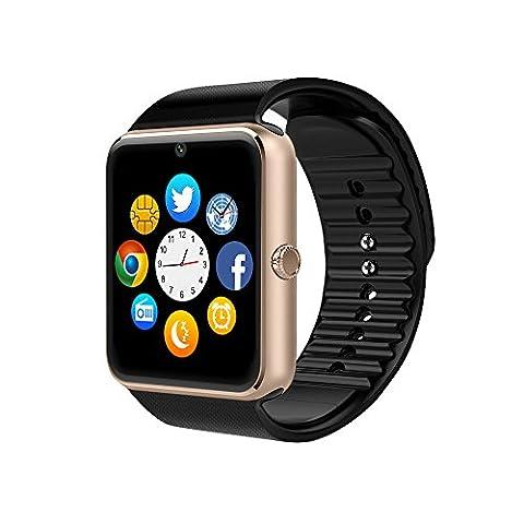 Smart Watch, CulturesIn GT08 Écran tactile Bluetooth Montre-bracelet avec caméra / Carte SIM Analyse de la fente / podomètre / Surveillance du sommeil pour Android (Fonctions complètes) et IOS (Fonctions partielles) (gold)