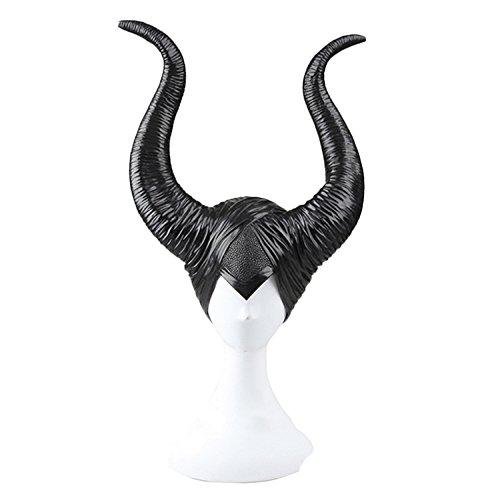 nihiug Schlafen Charm Horn Maske Kopfbedeckungen Cos Malinfisen Hexe Gehörnter Hut Halloween Helm Requisiten,Black-OneSize (Gehörnter Helm)