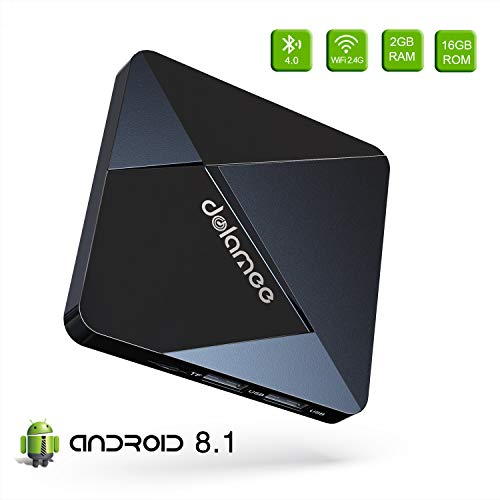 Android TV Box 7.1-Dolamee D5 2GB RAM+16GB ROM Mini Smart TV Box mit Amlogic S905W Quad Core 64 Bits/4K HD/3D/Bluetooth 4.0/2.4GHz WiFi/LAN10/100M