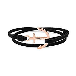 classygood. Anker Armband Classy Bracelet roségold & Silber, Alcantara-Leder Band schwarz für Damen/Herren
