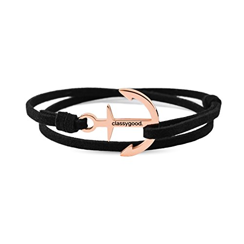 "classygood. Anker Armband ""Classy Bracelet"" roségold & silber, Alcantara-Leder Band schwarz für Damen/Herren"