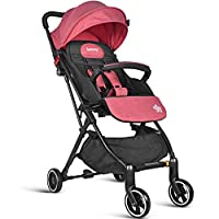Lightweight Stroller, Besrey Compact Baby Stroller, Recline Buggy for Airplane Ultra Lightweight Baby Stroller with Luggage Carry Handle When Folding, Pink