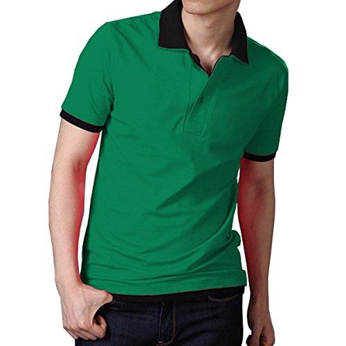 Fanideaz Men's Double Collar Premium Polo Tees M Green and Black