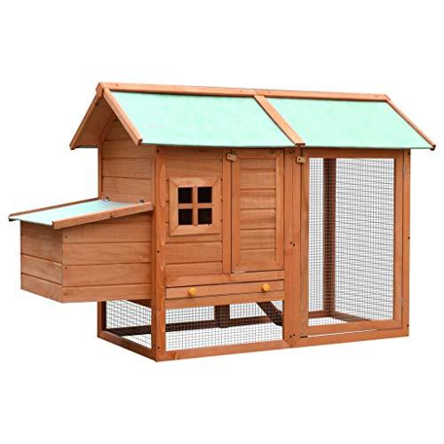 Nishore gabbia per polli in legno massello di pino e abete 170x81x110cm