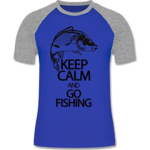 Angeln - Keep calm and go Fishing - zweifarbiges Baseballshirt für Männer Royalblau/Grau meliert