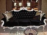 Barroco sofá tallada 3plazas estilo envejecido plata Vp0803