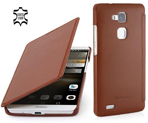StilGut - Book Type Case ohne Clip, Hülle aus Leder geeignet für Huawei Ascend Mate 7, Cognac