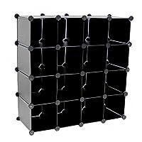 Oypla Interlocking 16 Compartment Shoe Organiser Storage Cube Rack Black