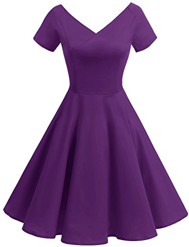 Gardenwed Women's Vintage 1950s V-Neck Garden Party Picnic Dress Retro Cocktail Dress with Short Sleeves Purple XS (Womens Purple Cocktail Dresses)