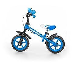 Milly Mally 4751 - Kinderlaufrad 10-Zoll-Räder mit Bremsen und Klingel, blau