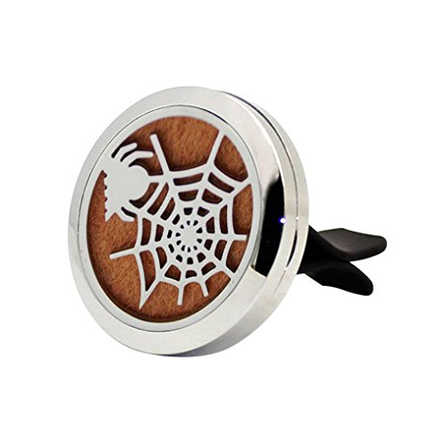Transer® Halloween Spinne Edelstahl Car Entlüftungsclip / Ergänzende Auflage Parfüm Clip Luftreiniger Tragbare Aroma Diffusoren Duft Öl Diffusor Locket (B-Parfüm Clip)