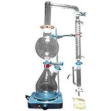 New 2000ml laboratorio olio essenziale di vapore distillazione Apparatus cristalleria Kits acqua Distillatore purificatore W/Hot stufa Graham condensatore