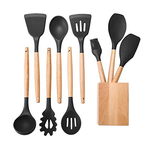 Juego utensilios cocina silicona mango madera - herramientas