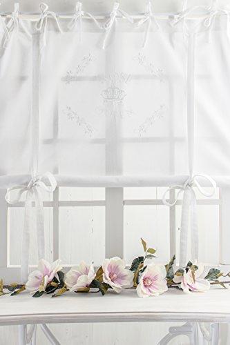 Rose Queen weiss bestickt 120x120cm Rosenbestickung Raffgardine Shabby Chic Vintage Landhaus Franske Leinenoptik