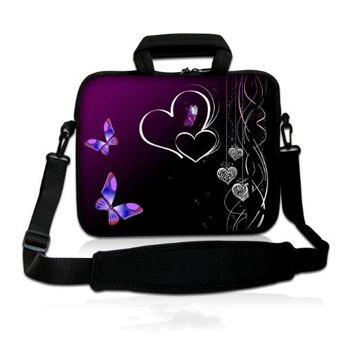 wortek Universal Notebooktasche Schutzhülle aus Neopren mit Zusatzfach, Tragegriff und Tragegurt für Laptops bis ca. 15,4 Zoll - Herzen Schwarz Lila