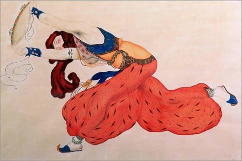 Poster 150 x 100 cm: Studie Einer Tänzerin für Scheherazade von Leon Nikolajewitsch Bakst/Bridgeman Images - Hochwertiger Kunstdruck, Kunstposter
