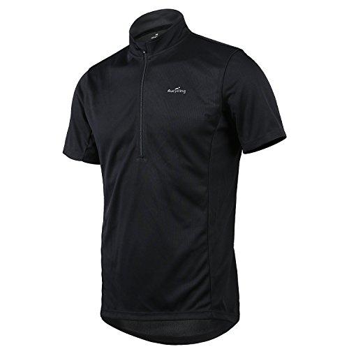 4Ucycling Herren Fahrrad Trikot kurzarm Radtrikot Sport Shirt Jersey Kurzarmtrikot Black - Reflektierende Fahrrad Shirt