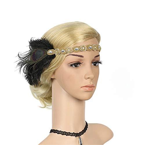 Haarbands,Sasstaids 1920er Jahre Kopfschmuck Feder Flapper Stirnband Great Gatsby Headdress ()