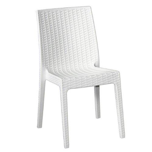 Chaise d'extérieur / intérieur en rotin synthétique blanc